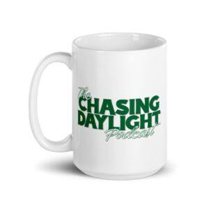 Chasing Daylight White glossy mug